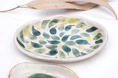 NEW LEAF Ring Dish Set Hand Painted Gold Rimmed