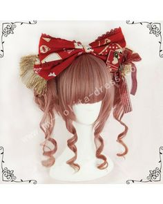 Red Brown Face Framing Ponytail Bun Lolita Wig #lolita  #wig