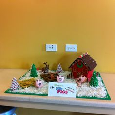 Three little pigs gingerbread house