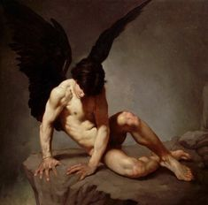 """life-imitates-art-far-more: """"Roberto Ferri """"Angelo-Caduto"""" Ferri is an Italian artist and painter from Taranto, Italy, who is deeply inspired by Baroque painters (Caravaggio in particular) and other old masters of Romanticism, the Academy,. Male Angels, Angels And Demons, Caravaggio, Art Gay, Angel Sketch, Dark Wings, Ange Demon, Ex Machina, Classical Art"""