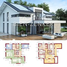 House Plans Modern European Architecture Design & Dream Home Ideas with 2 Story and Gallery - One Family House Floor Plans Modern Contemporary European Style – Architecture Design CONCEPT-M 2 - Modern Exterior House Designs, Modern Architecture House, Exterior Design, Architecture Design, European House, European Style, Model House Plan, Home Design Plans, House Floor Plans