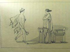 """Hermes e Calipso """"Calipso, inclita dea, non ebbe in lui gli occhi affissati, che il conobbe..."""" ( libro V, 103-104)"""