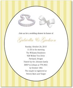 Necklace and Bowknot Accessory Bridal Shower Invitations White Wedding Gowns, Johnson Family, Text Color, Bridal Shower Invitations, Bridal Accessories, Pottery Barn, Invitation Cards, Rsvp, Colorful Backgrounds