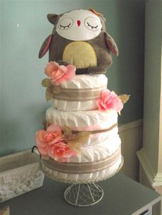 Owl Baby Shower Diaper Cake (with pink flowers)