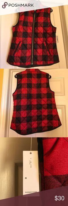 Plaid Vest Red and black plaid puffer vest. Never worn. Old Navy Jackets & Coats Vests