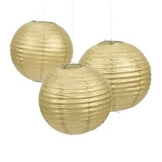 Gold Paper Lanterns - OrientalTrading.com @Jacqueline Volz would there be anywhere to hang these in the backyard? They're really cute!!
