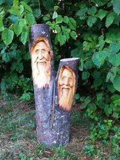 Hand carved wood spirits by Elizabeth Brown, Liverpool, NS