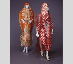 """Kaisik Wong, Red Ray and Orange Ray, 1974, on view in """"Counter-Couture: Fashioning Identity in the American Counterculture,"""" at Bellevue Arts Museum, Bellevue, WA, September 4, 2015 - January 10, 2016."""