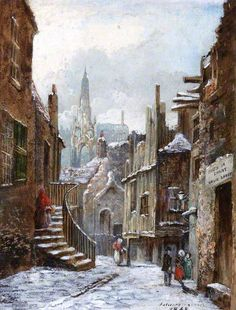 """Dunbar Close, Edinburgh""  --  1868  --  Jane Stewart Smith  --  Scottish  --  Oil on panel  --  Belonging to the Edinburgh City Council"