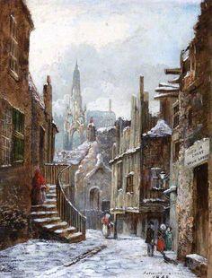 """Dunbar Close, Edinburgh""  --  1868  --  Jane Stewart Smith  --  Scottish  --  Oil on panel  --  Belonging to the Edinburgh City Council"