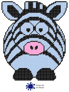 Cute Zebra Plastic Canvas Pattern