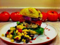 Chicken Burger with Mango, Corn & Black Bean Salad