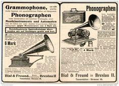 Original-Werbung/Inserat/ Anzeige 1902  : PHONOGRAPHEN / GRAMMOPHONE / BIAL & FREUND BRESLAU ca. 190 x 130 mm