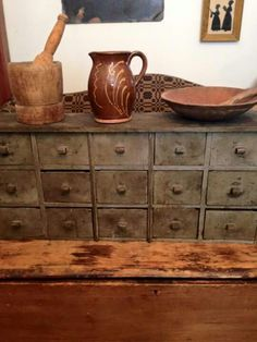 Prim Decor, Country Decor, Spice Cabinets, Earth Colours, Sticks Furniture, Apothecary Cabinet, Vintage Lanterns, Old Suitcases, Apothecaries