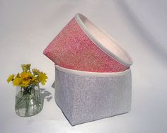 Set of two mini fabric storage baskets / Lot of two mini bins / Fabric storage…