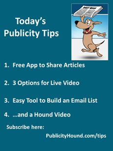 Publicity Tips–Free App to Share Articles. In the May 2 issue, there's a quicker, easier way to share articles with the Chrome and Safari extension, Highly. It turns your cursor into a highlighter. A new study by Cisco Systems predicts that nearly three-fourths of the world's mobile data traffic will be video by 2019. If you haven't hopped aboard the video train by then, you'll be left at the station. Aweber, an email management program have an app for your phone that lets you type the name…
