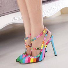 $23.99. Rivet Rainbow Pointed Toe Sandals