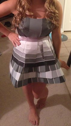Abc party outfit - fifty shades of grey, done with paint samples from the hardware store. Anything but clothes