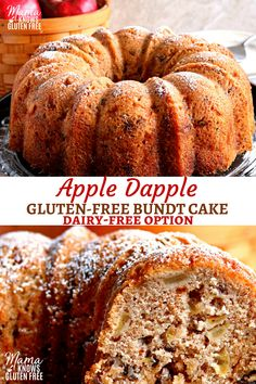 This gluten-free Apple Dapple Bundt Cake is a super moist cake that is loaded with fresh apples, crunchy pecans and covered in a buttery brown sugar glaze. With a dairy-free option. Gluten Free Apple Cake, Gluten Free Deserts, Gluten Free Sweets, Gluten Free Cakes, Foods With Gluten, Gluten Free Baking, Sugar Free Apple Cake, Gluten Free Pound Cake, Healthy Baking