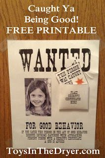 caught you being good, free printable | Toys In The Dryer