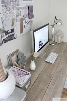 Office & Workspace, Beautiful Feminine Home Offices Interior Design: Minimalist Feminine Home Office With Wooden Desk Theme