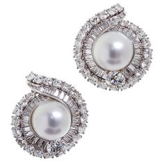 DAVID WEBB 7.00 carats Diamond Pearl Ear Clips | From a unique collection of vintage clip-on earrings at http://www.1stdibs.com/jewelry/earrings/clip-on-earrings/