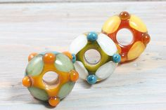 Large Hole Lampwork Beads, Handmade Amber, White, Teal, Yellow, Orange, and Green Rondelles, European Style Charm Beads, Set of 3 on Etsy, $18.00