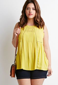 Plus Size Lace and Crochet-Paneled Top