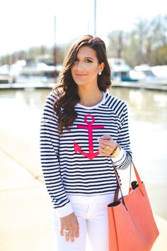 anchor sweatshirt, anchor print sweatshirt, anchor print top, anchor terry sweatshirt, anchor print terry sweatshirt, nautical outfit ideas, nautical fashion, spring nautical outfit, sundry terry sweatshirt, nude christian louboutin so kate pumps, anchor print outfit // grace wainwright from a southern drawl