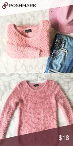 "Fuzzy Pink Sweater Long sleeve fuzzy pink sweater from Attention. Size small. The tag was removed. Measurements are: shoulders 17"" flat, sleeve 26.5"", length 26.5"". The sweater has a stretch to it. Gently loved. Attention Sweaters Crew & Scoop Necks"