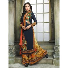 Gratifying Wedding Embroidery Blue Georgette Designer Salwar Suit. It Contained The  Embridery Work. The Suit Which Can be customized up to bust size 42