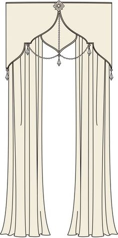 Cornice w/ Chandelier Crystals- like the center hanging crystal with 2 draped sides Curtains With Blinds, Window Curtains, Valances, Curtain Styles, Drapery Styles, Curtain Ideas, Drapery Designs, Pelmets, D House