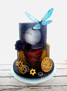 Steampunk+and+Gothic+Birthday+Cake+-+Cake+by+Cakes+by+Sian