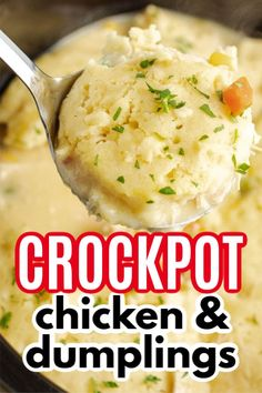 Crockpot Chicken and Dumplings (video) This crockpot chicken and dumplings recipe is creamy, hearty and delicious with a to-die-for gravy and the perfect balance of protein and vegetables. Chicken And Dimplings, Crockpot Chicken And Vegetables, Easy Crockpot Chicken, How To Cook Chicken, Chicken Recipes, Chicken Meals, Healthy Chicken, Chicken Salad, Healthy Meals