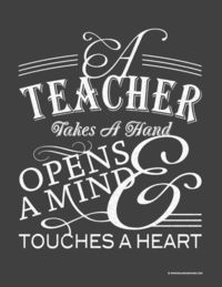 Free Teacher Appreciation printable inspired by chalkboard art. Fits in an 8x10 opening and would look lovely framed. From balancinghome.com @ Juxtapost.com