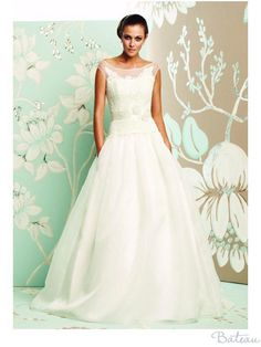 boat neck wedding dress - Google Search