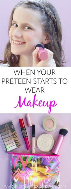 When Your Preteen Starts to Wear Makeup- This post has awesome makeup tips for preteens. Great suggestion on makeup for young girls. hacks for teens girl should know acne eyeliner for hair makeup skincare Preteen Makeup, Makeup For Tweens, Kids Makeup, Makeup Ideas, Makeup For Girls, Makeup Tutorials, Teen Makeup Tutorial, Teenage Makeup, Makeup Trends