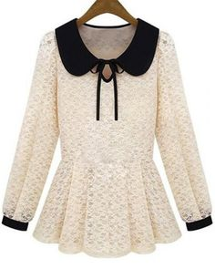 Fashionable Peter Pan Collar Long Sleeve Ruffled Lace Blouse For WomenBlouses | RoseGal.com
