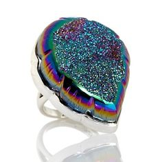 """Sajen Silver by Marianna and Richard Jacobs Carved """"Leaf"""" Drusy Quartz Ring at HSN.com."""