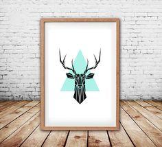 Cerf estampes murales Art impressions cerf Deer Art affiches Art animalier géométrique - Art nordique - géométrique Stag