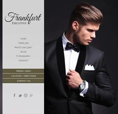 Frankfurt Executive, an elegant and responsive Joomla template that looks great on all devices. Create a slideshow background, hide the content with the toggle button, add your social media links and choose your colours and fonts from the template manager Joomla Templates, Best Templates, Toggle Button, Frankfurt, Looks Great, Fonts, That Look, Menswear, Social Media