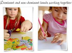 Dominant and non-dominant hands working together: toddler cutting with scissors and toddler writing while steadying with other hand