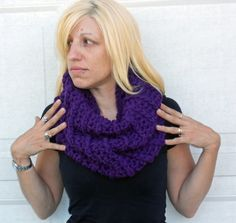 Purple ribbed crocheted winter scarf cowl neck by ValkinThreads, $40.00