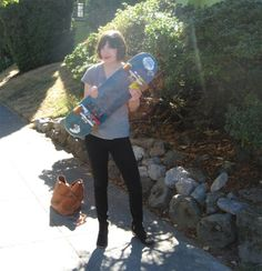 Carrie Brownstein after filming another episode of Portlandia with a skateboarding segment.