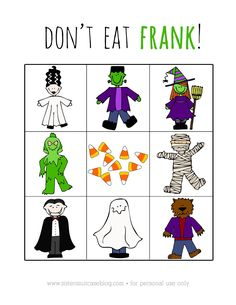 """Printable Halloween Game """"Don't Eat Frank!"""" - My Sister's Suitcase - Packed with Creativity"""