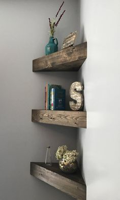 new house options Corner Floating Shelves corner shelf corner shelves Nursery Shelves, Bathroom Shelves, Bathroom Storage, Bathroom Ideas, Nursery Storage, Storage Room, Kitchen Storage, Floating Shelves Diy, Rustic Shelves