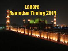 Lahore Ramadan Timing 2014