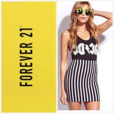 F21 Mini Black White Striped Skirt NWT very versatile mini skirt in a size small by Forever 21. This form-fitting skirt is made of 92% Cotton and 8% spandex. It has a wide band that hits mid waist. You can dress it up or down. Forever 21 Skirts Mini