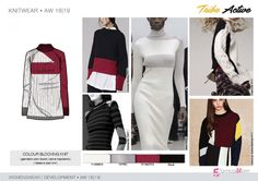 FW 208-19 Trend forecast: COLOUR BLOCKING KNIT, active inspirations,geometric color blocks, ribbed or plain knit, development designs by 5forecaStore Fashion trend forecasting.