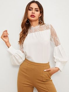 SheIn offers Contrast Lace Blouse & more to fit your fashionable needs. Blouse Styles, Blouse Designs, Women's Dresses, Spring Shirts, Blouse Online, Lace Fabric, Affordable Fashion, Types Of Sleeves, Shirt Blouses